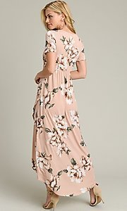 Image of short sleeve high-low pink floral-print casual dress. Style: LAS-VB-21-VD7681 Detail Image 4