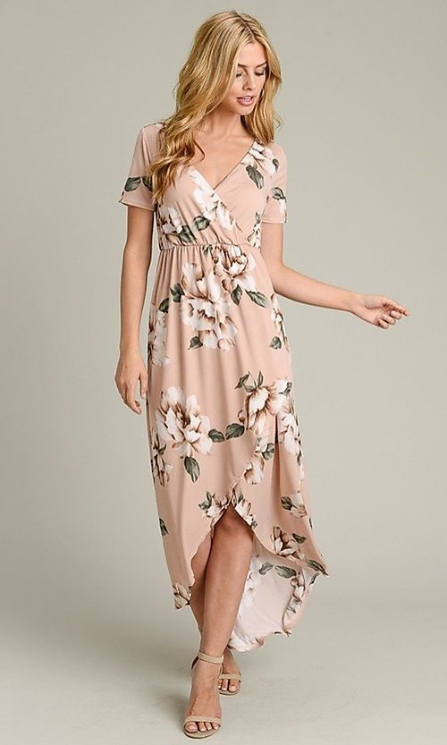 Image of short sleeve high-low pink floral-print casual dress. Style: LAS-VB-21-VD7681 Front Image