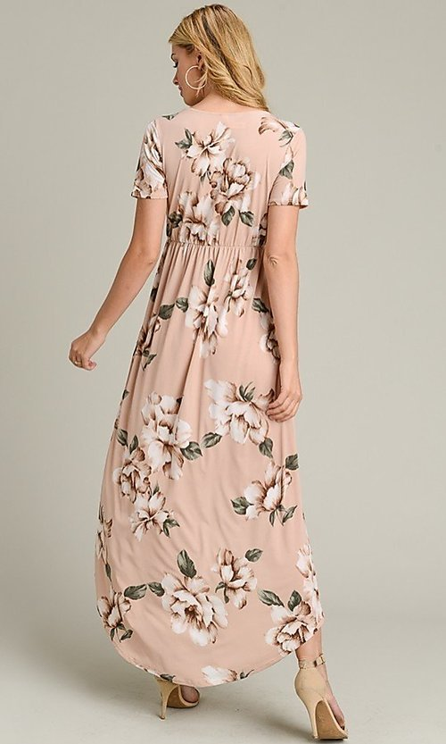 Image of short sleeve high-low pink floral-print casual dress. Style: LAS-VB-21-VD7681 Back Image