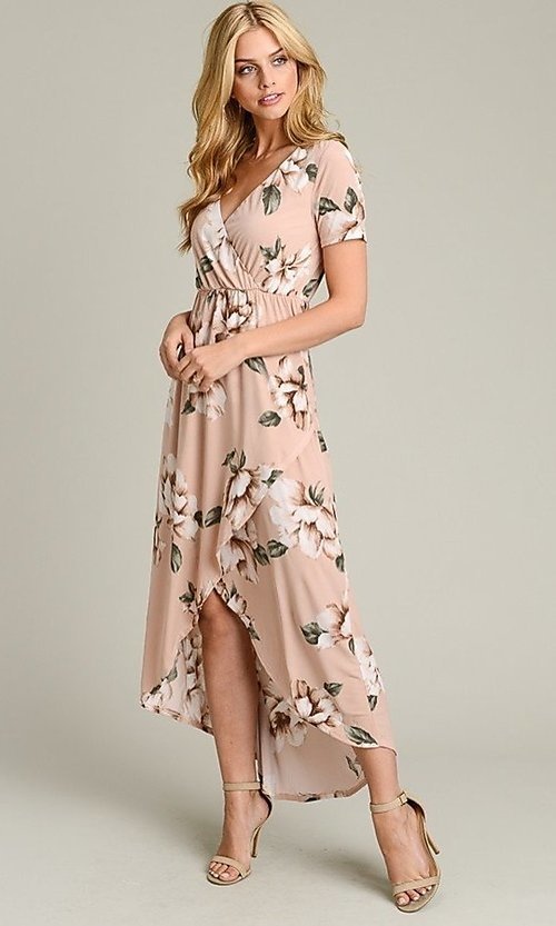 Image of short sleeve high-low pink floral-print casual dress. Style: LAS-VB-21-VD7681 Detail Image 3