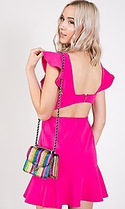 Image of ruffled open-back short casual party dress. Style: LAS-TWE-21-5007IMD-1 Detail Image 3