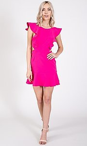 Image of ruffled open-back short casual party dress. Style: LAS-TWE-21-5007IMD-1 Detail Image 4