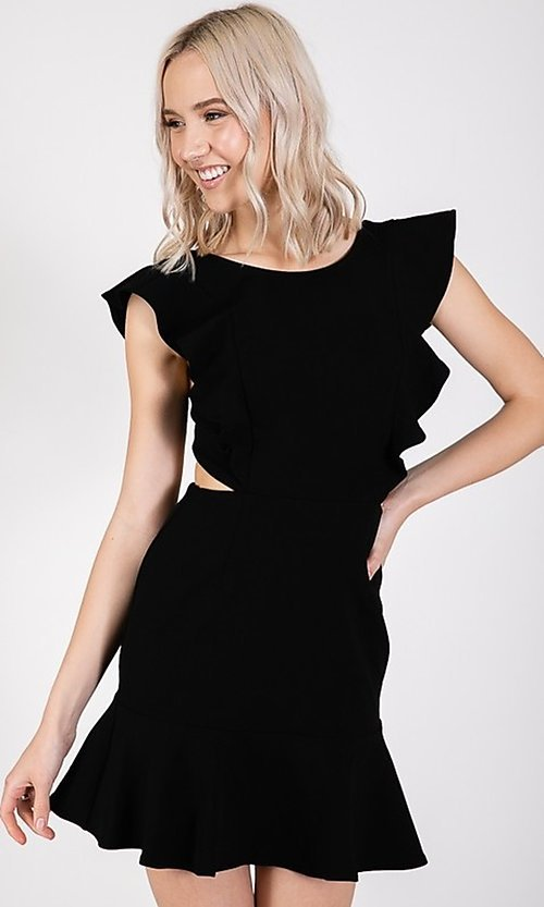 Image of ruffled open-back short casual party dress. Style: LAS-TWE-21-5007IMD-1 Detail Image 5