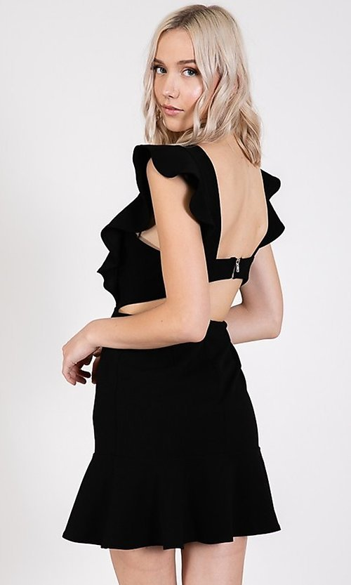 Image of ruffled open-back short casual party dress. Style: LAS-TWE-21-5007IMD-1 Detail Image 6