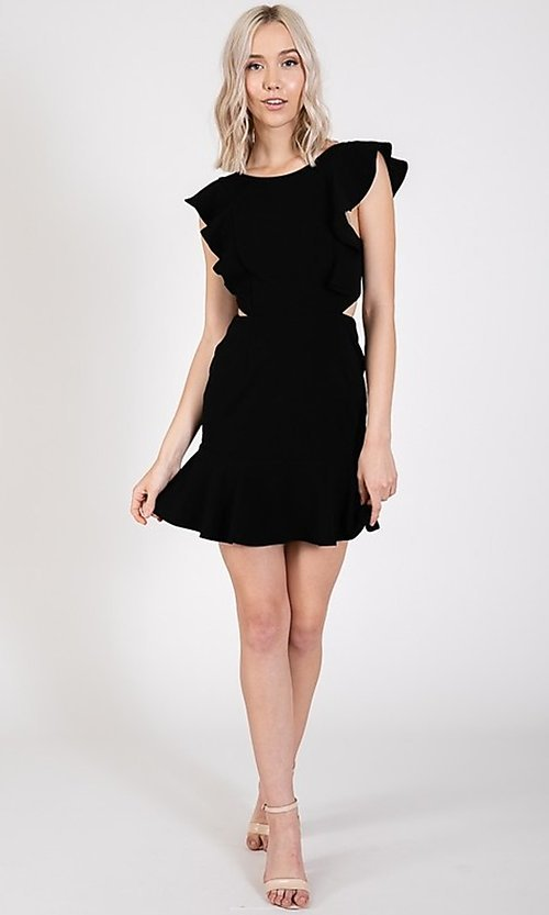 Image of ruffled open-back short casual party dress. Style: LAS-TWE-21-5007IMD-1 Detail Image 7