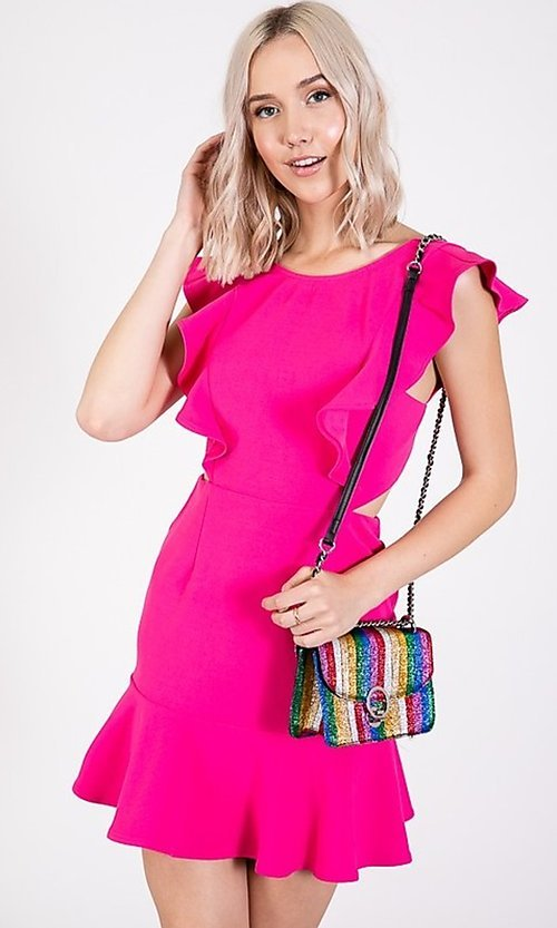 Image of ruffled open-back short casual party dress. Style: LAS-TWE-21-5007IMD-1 Detail Image 2