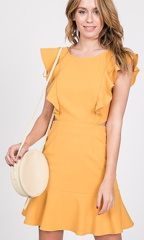 Image of ruffled open-back short casual party dress. Style: LAS-TWE-21-5007IMD-1 Front Image