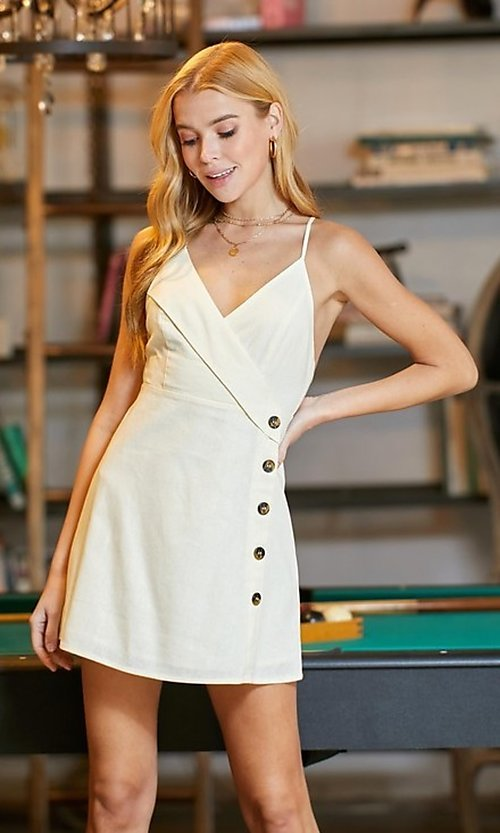 Image of button-up short graduation party dress. Style: LAS-TWE-21-5002IMD Front Image
