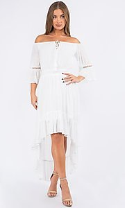 Image of bell sleeve off-the-shoulder casual high-low dress. Style: LAS-MAV-21-MA9536 Front Image