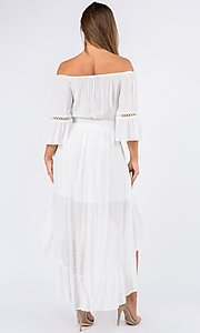 Image of bell sleeve off-the-shoulder casual high-low dress. Style: LAS-MAV-21-MA9536 Back Image