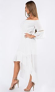 Image of bell sleeve off-the-shoulder casual high-low dress. Style: LAS-MAV-21-MA9536 Detail Image 1