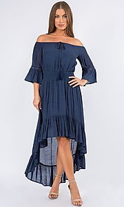 Image of bell sleeve off-the-shoulder casual high-low dress. Style: LAS-MAV-21-MA9536 Detail Image 2
