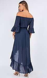 Image of bell sleeve off-the-shoulder casual high-low dress. Style: LAS-MAV-21-MA9536 Detail Image 3