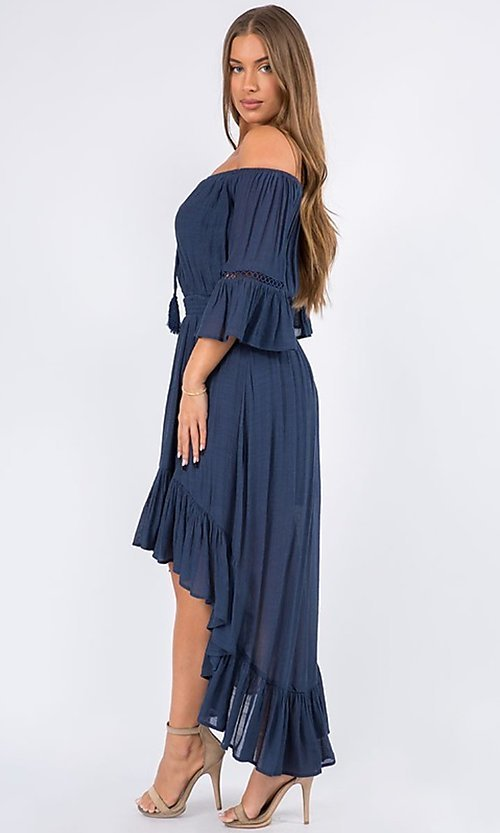 Image of bell sleeve off-the-shoulder casual high-low dress. Style: LAS-MAV-21-MA9536 Detail Image 4