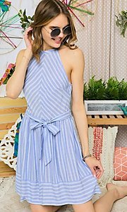 Image of short blue striped casual halter summer dress. Style: FG-UC-21-Y77853-CK Front Image