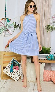 Image of short blue striped casual halter summer dress. Style: FG-UC-21-Y77853-CK Detail Image 1