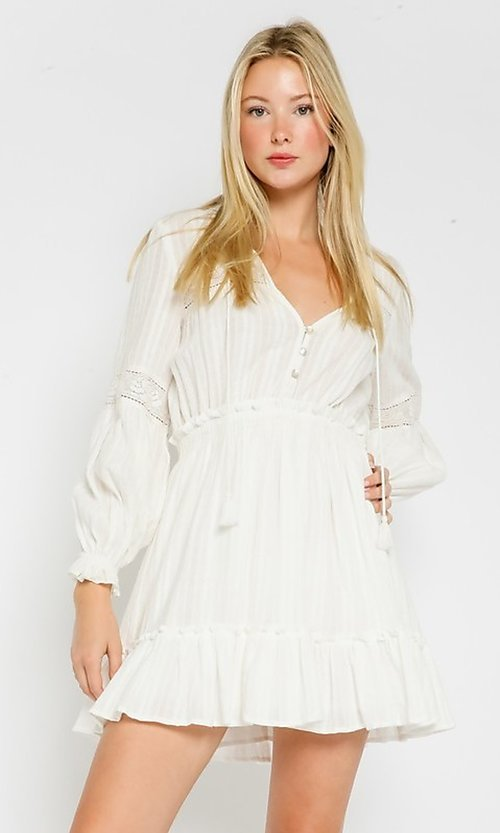 Image of long-sleeve short white casual grad party dress. Style: FG-OL-21-20-227LDJ Front Image