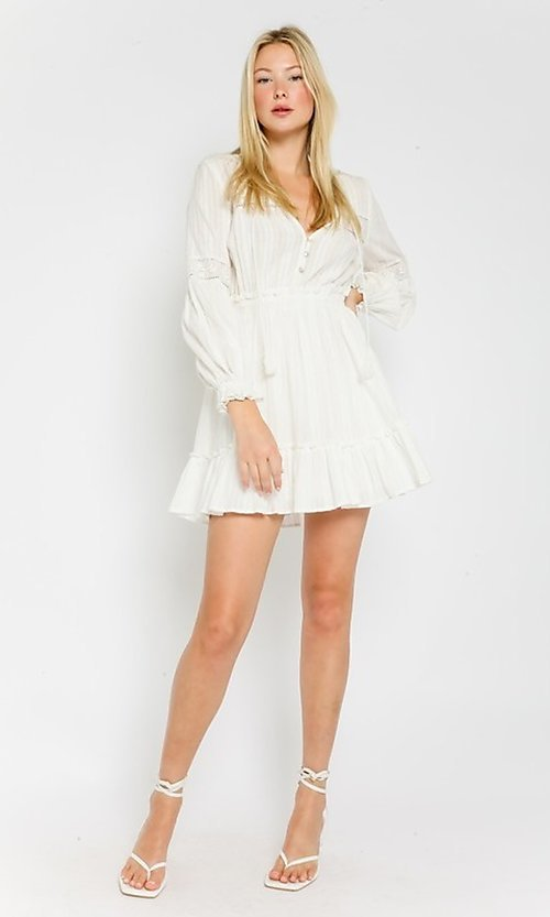 Image of long-sleeve short white casual grad party dress. Style: FG-OL-21-20-227LDJ Detail Image 1