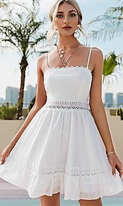 Image of short white grad party dress with back tie. Style: FG-BEL-21-L21DR8356 Front Image