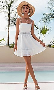 Image of short white grad party dress with back tie. Style: FG-BEL-21-L21DR8356 Detail Image 2