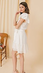 Image of short lace off-white graduation party dress. Style: FG-FT-21-AD2015 Detail Image 2
