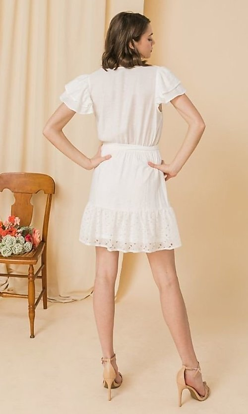 Image of short lace off-white graduation party dress. Style: FG-FT-21-AD2015 Back Image