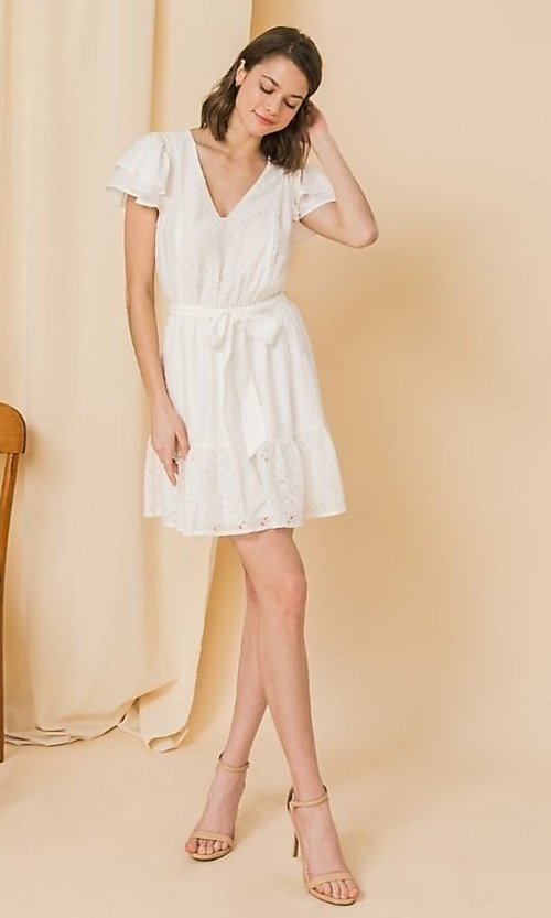 Image of short lace off-white graduation party dress. Style: FG-FT-21-AD2015 Detail Image 1