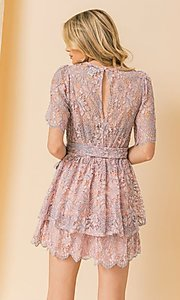 Image of short pink and blue lace wedding-guest party dress. Style: FG-FT-21-AD1944P Back Image