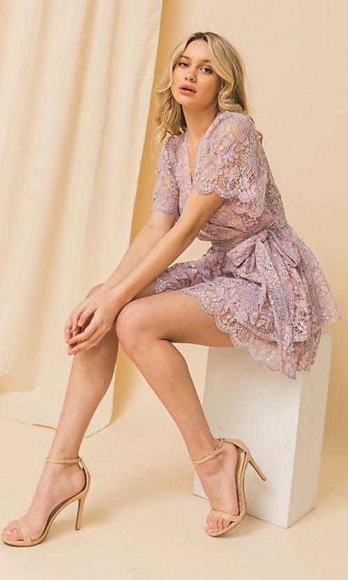 Image of short pink and blue lace wedding-guest party dress. Style: FG-FT-21-AD1944P Front Image