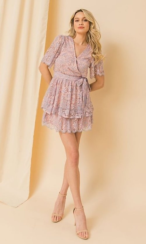 Image of short pink and blue lace wedding-guest party dress. Style: FG-FT-21-AD1944P Detail Image 1