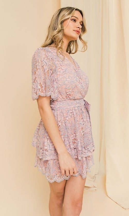 Image of short pink and blue lace wedding-guest party dress. Style: FG-FT-21-AD1944P Detail Image 2