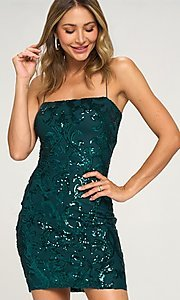 Image of short tight sequin cocktail party dress. Style: LAS-LOV-21-OD3420B Front Image