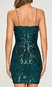 Image of short tight sequin cocktail party dress. Style: LAS-LOV-21-OD3420B Back Image