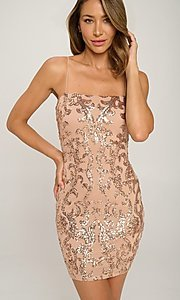 Image of short tight sequin cocktail party dress. Style: LAS-LOV-21-OD3420B Detail Image 3