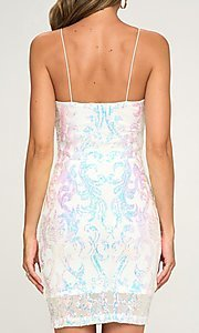 Image of short tight sequin cocktail party dress. Style: LAS-LOV-21-OD3420B Detail Image 2