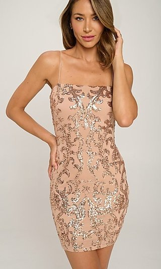 Short Tight Sequin Cocktail Party Dress