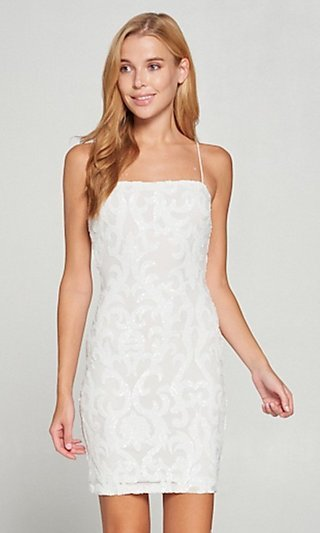 Sequin Short Fitted White Graduation Dress