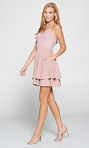 Image of short blush pink wedding-guest party dress. Style: LAS-LOV-21-ND2174WD Detail Image 2
