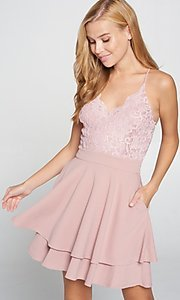 Image of short blush pink wedding-guest party dress. Style: LAS-LOV-21-ND2174WD Front Image