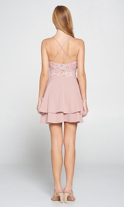 Image of short blush pink wedding-guest party dress. Style: LAS-LOV-21-ND2174WD Back Image
