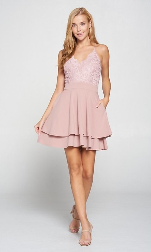 Image of short blush pink wedding-guest party dress. Style: LAS-LOV-21-ND2174WD Detail Image 1