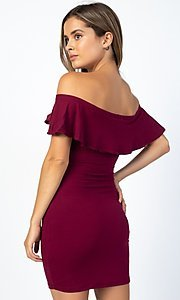 Image of off-the-shoulder ruffle short casual party dress. Style: LAS-CAP-21-BD1949 Back Image