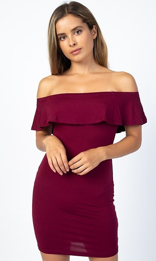Image of off-the-shoulder ruffle short casual party dress. Style: LAS-CAP-21-BD1949 Detail Image 1