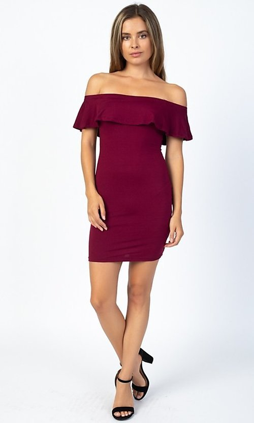 Image of off-the-shoulder ruffle short casual party dress. Style: LAS-CAP-21-BD1949 Detail Image 2