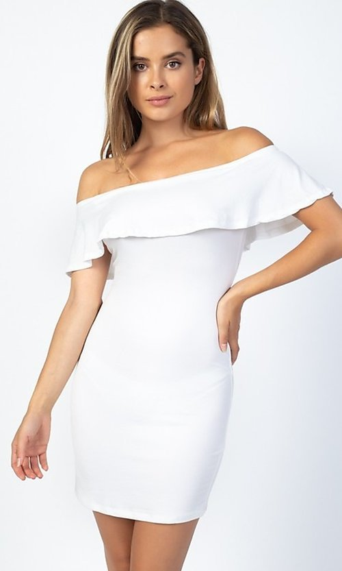 Image of off-the-shoulder ruffle short casual party dress. Style: LAS-CAP-21-BD1949 Front Image