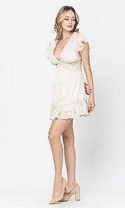 Image of ivory white short grad party dress with lace waist. Style: LAS-TCC-21-LD3931 Detail Image 1