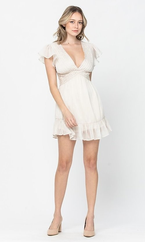 Image of ivory white short grad party dress with lace waist. Style: LAS-TCC-21-LD3931 Front Image