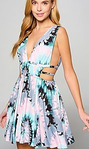 Image of short multi-color cut-out casual summer dress. Style: LAS-LOV-21-MD1286F Front Image