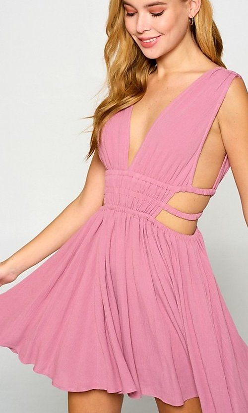 Image of short sexy casual dress with cut outs. Style: LAS-LOV-21-MD1286 Detail Image 1