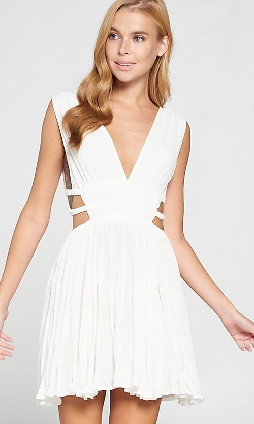 Image of short sexy casual dress with cut outs. Style: LAS-LOV-21-MD1286 Front Image